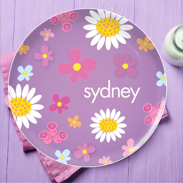 Field of Flowers Personalized Kids Plates - Give Wink