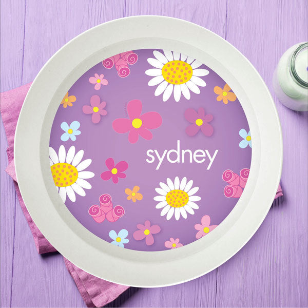 Field Of Flowers Personalized Kids Bowl - Give Wink