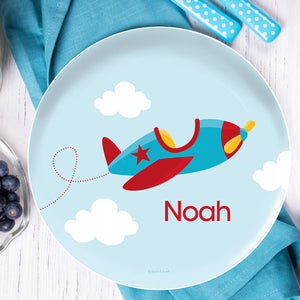 Fly Little Plane Personalized Kids Plates - Give Wink