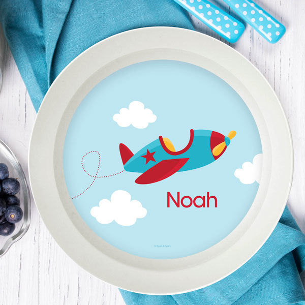 Fly Little Plane Personalized Kids Bowl - Give Wink