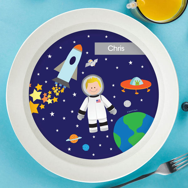 Astronaut To The Moon Personalized Kids Bowl - Give Wink