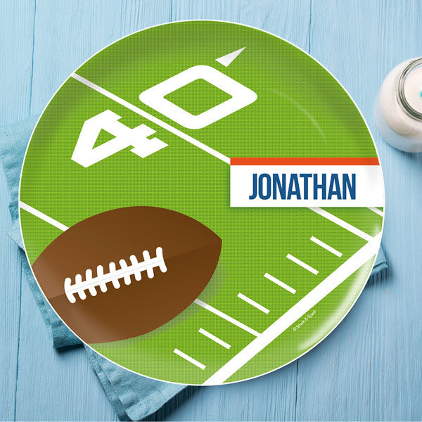 Football Fan Personalized Kids Plates - Give Wink