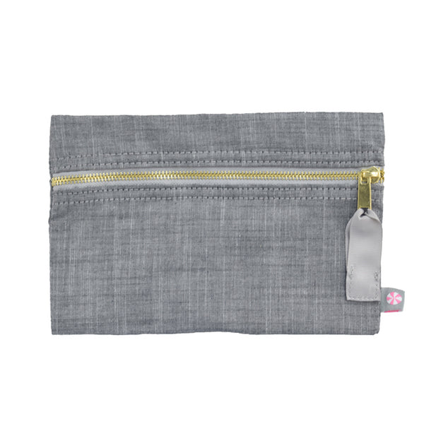 Grey Chambray Flat Pouch - Give Wink
