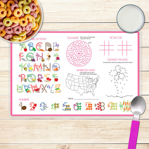 Spark & Spark. Pink Emoji Personalized Kids Placemat. Back
