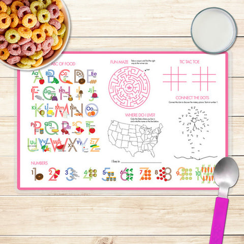Pink Emoji Personalized Kids Placemat