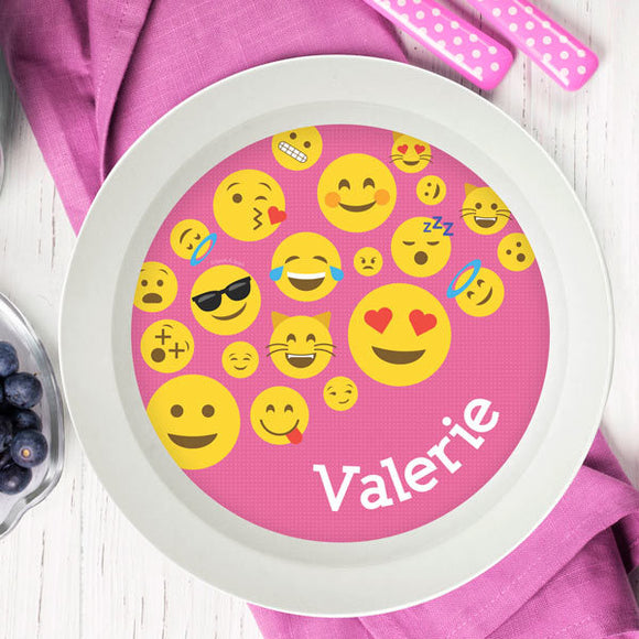 Pink Emoji Personalized Kids Bowl - Give Wink