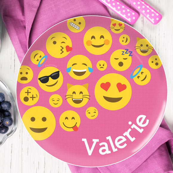 Pink Emojis Personalized Kids Plates - Give Wink