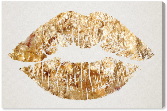 Gold Solid Kiss Wall Art - Give Wink