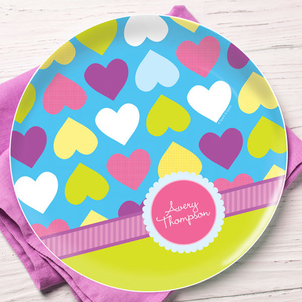Happy Hearts Personalized Kids Plates - Give Wink