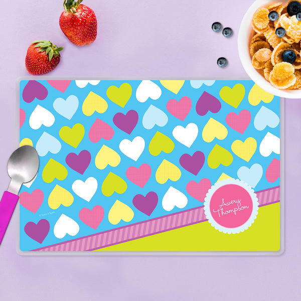 Happy Hearts Personalized Kids Placemat - Give Wink