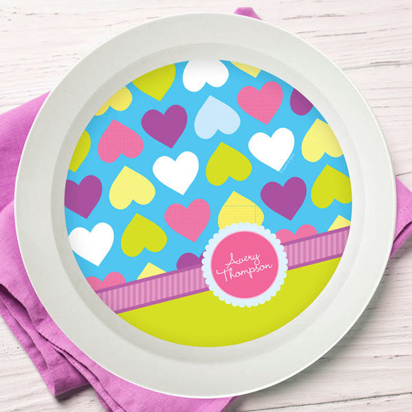 Happy Hearts Personalized Kids Bowl - Give Wink