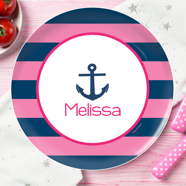 Let's Sail Pink Personalized Kids Plates - Give Wink