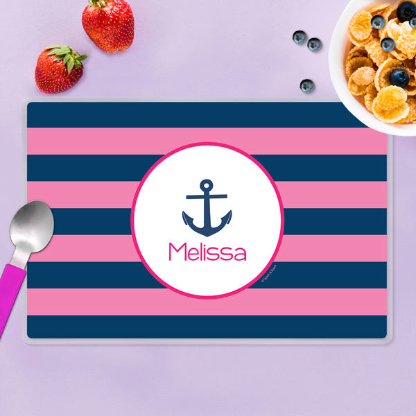 Spark & Spark. Let's Sail Pink Personalized Kids Placemat. Front