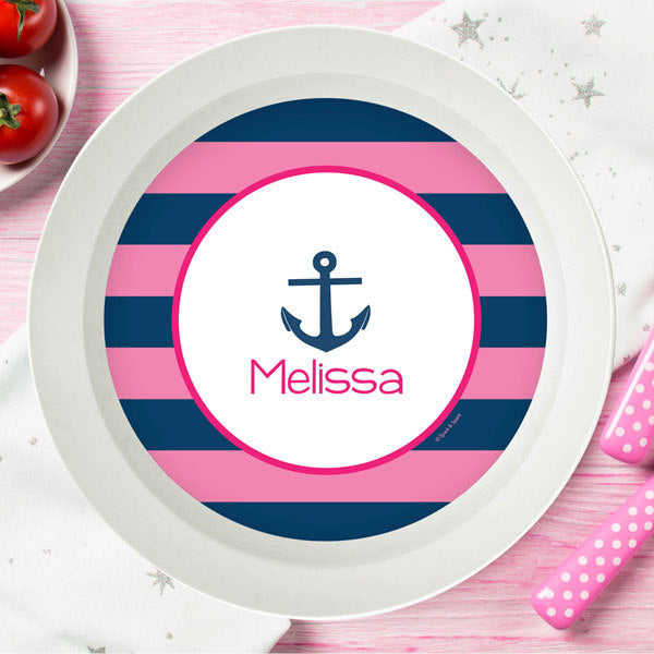 Spark and Spark. Let's Sail Pink Personalized Kids Bowl. Miami Baby Store