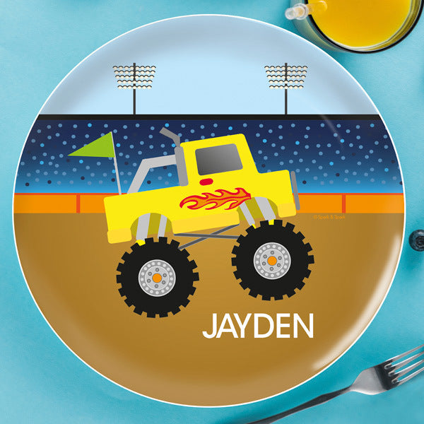 Spark and Spark. Monster Truck Personalized Kids Plates. Miami Baby Store