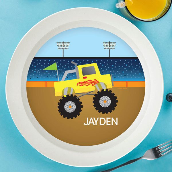 Monster Truck Personalized Kids Bowl - Give Wink
