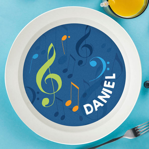 Spark and Spark. Musical Notes Personalized Kids Bowl. Miami Baby Store