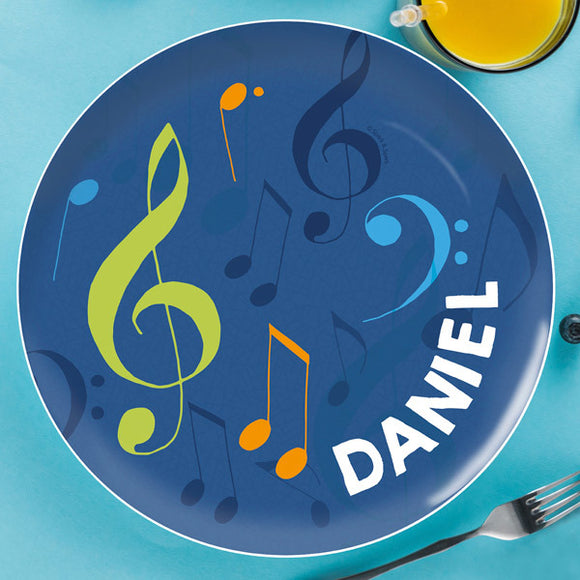 Musical Notes Personalized Kids Plates - Give Wink