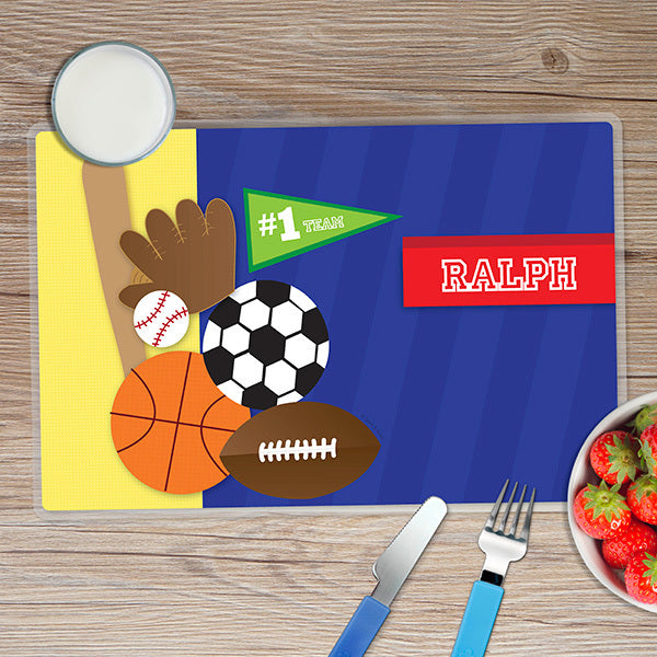 Spark & Spark. My Love for Sports Personalized Kids Placemat. Front