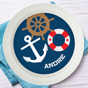 Nautical Ways Personalized Kids Bowl - Give Wink