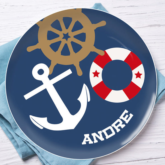 Nautical Ways Personalized Kids Plates - Give Wink