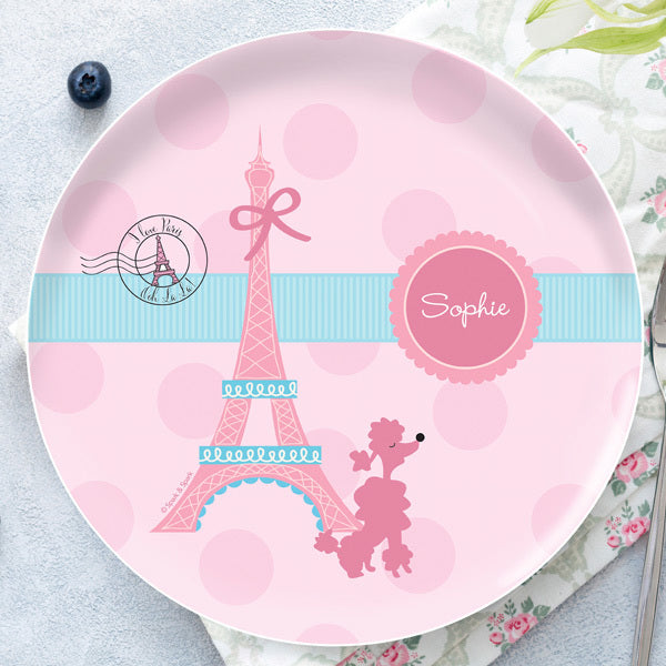 Spark and Spark. Ohh La La Paris Personalized Kids Plates. Miami Baby Store