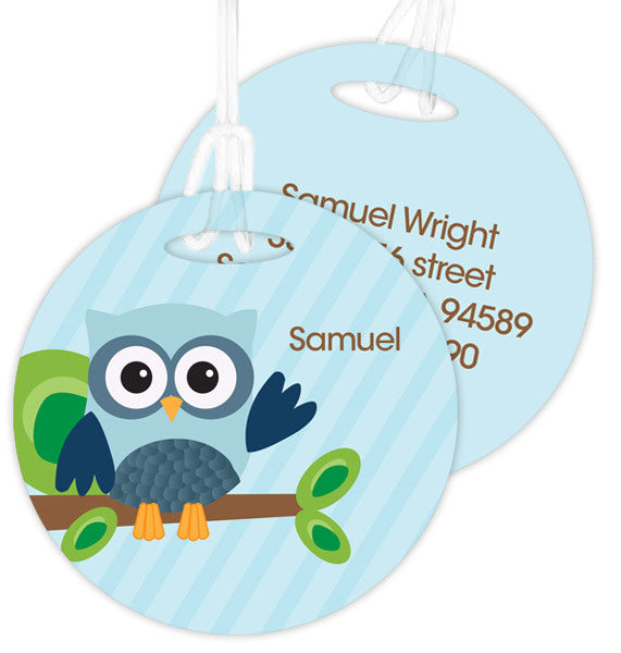 Blue Owl Be Yours Personalized Bag Tag