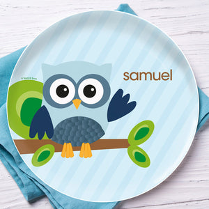 Blue Owl Be Yours Personalized Kids Plates - Give Wink