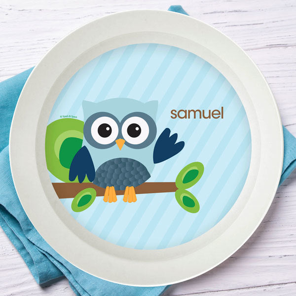 Blue Owl be Yours Personalized Kids Bowl - Give Wink