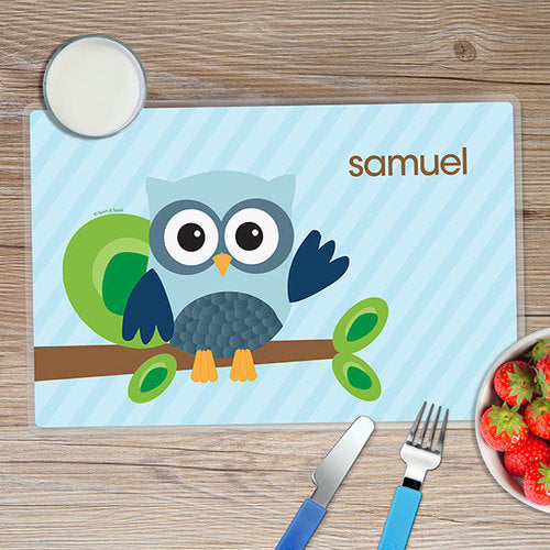 Blue Owl Be Yours Personalized Kids Placemat - Give Wink