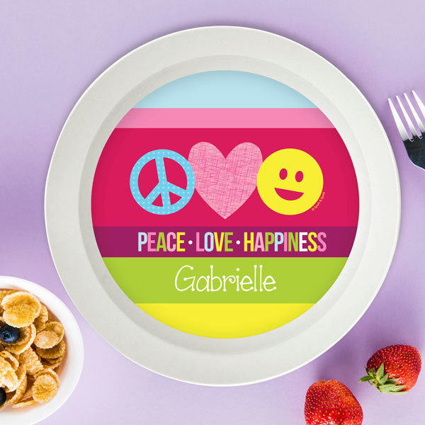 Spark and Spark. Peace & Love Signs Personalized Kids Bowl. Miami Baby Store