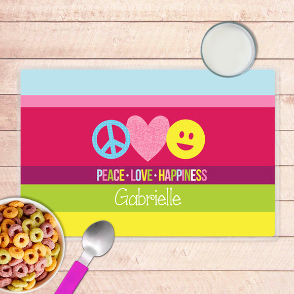 Peace & Love Signs Personalized Kids Placemat - Give Wink