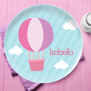 Hot Air Balloon Personalized Kids Plates - Give Wink