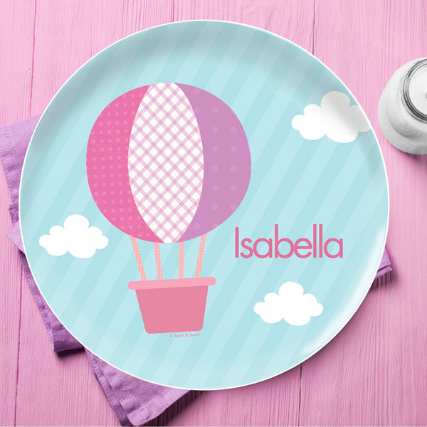 Spark and Spark. Hot Air Balloon Personalized Kids Plates. Miami Baby Store
