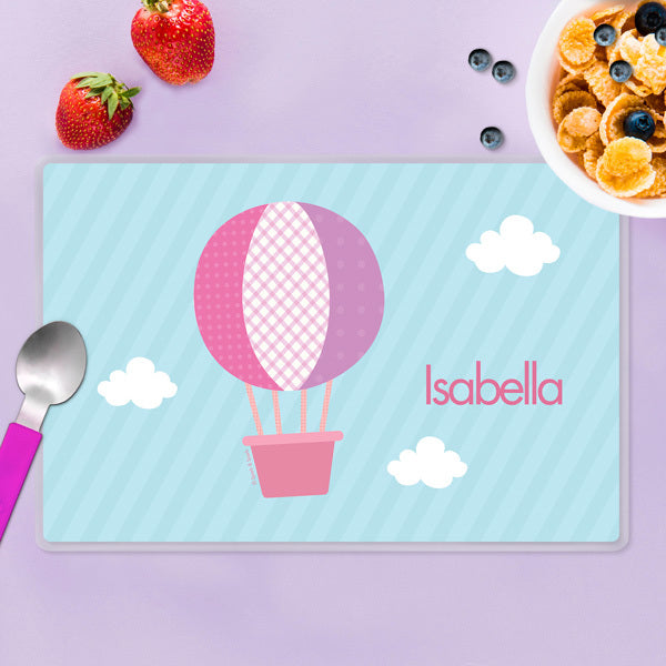 Spark & Spark. Hot Air Balloon Personalized Kids Placemat. Front
