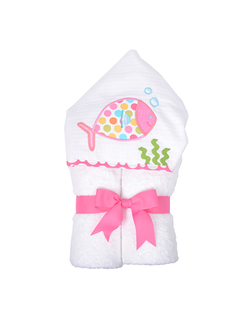 Fish Hooded Towel - 3Marthas - Miami Baby Store - Pink