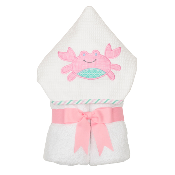 Crab Hooded Towel - 3Marthas - Miami Baby Store - Pink
