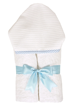 Hooded Towel Baby Pique Blue - Give Wink