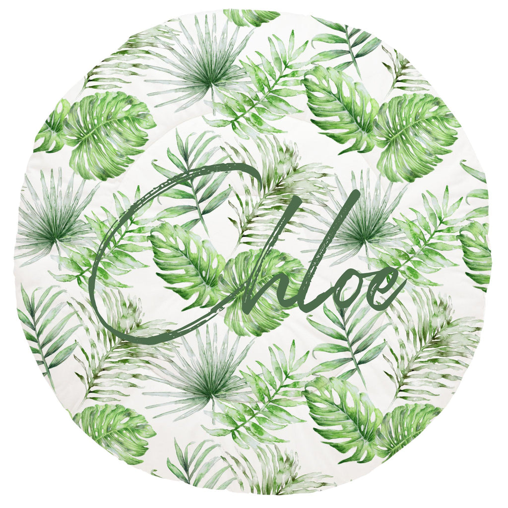Green Painted Tropical Personalized Play Mat - Give Wink