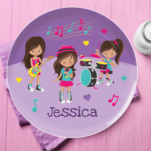 Rock And Roll Band Personalized Kids Plates - Give Wink