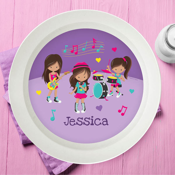 Rock and Roll Band Personalized Kids Bowl - Give Wink