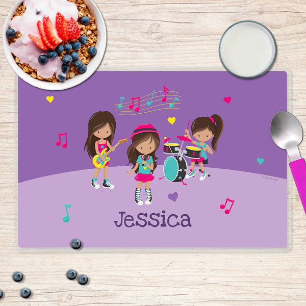 Spark & Spark. Rock and Roll Band Personalized Kids Placemat. Front