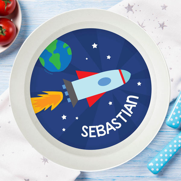 Rocket On The Sky Personalized Kids Bowl