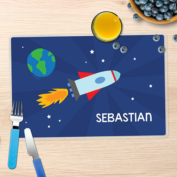 Rocket on the Sky Personalized Kids Placemat