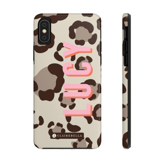 Clairebella Spots iPhone Tough Case XR. Miami Baby Store. Tan