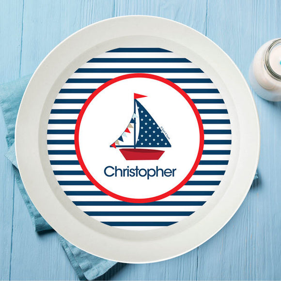 Set Sail Personalized Kids Bowl - Give Wink