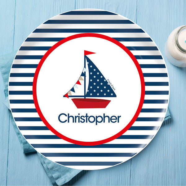 Spark and Spark. Set Sail Personalized Kids Plates. Miami Baby Store