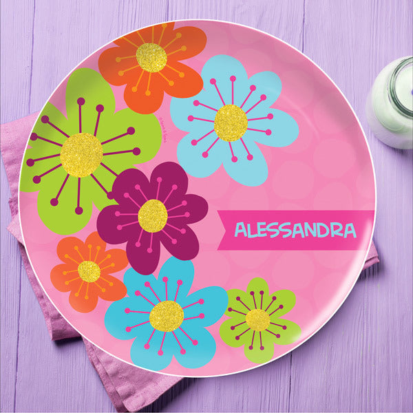Shiny Bold Flowers Personalized Kids Plates - Give Wink