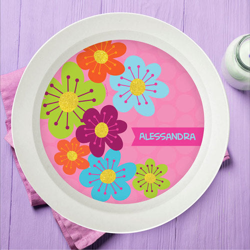Shiny Bold Flowers Personalized Kids Bowl - Give Wink