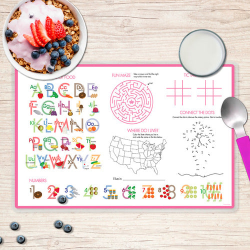 Spark & Spark. Shiny Bold Flowers Personalized Kids Placemat. Back